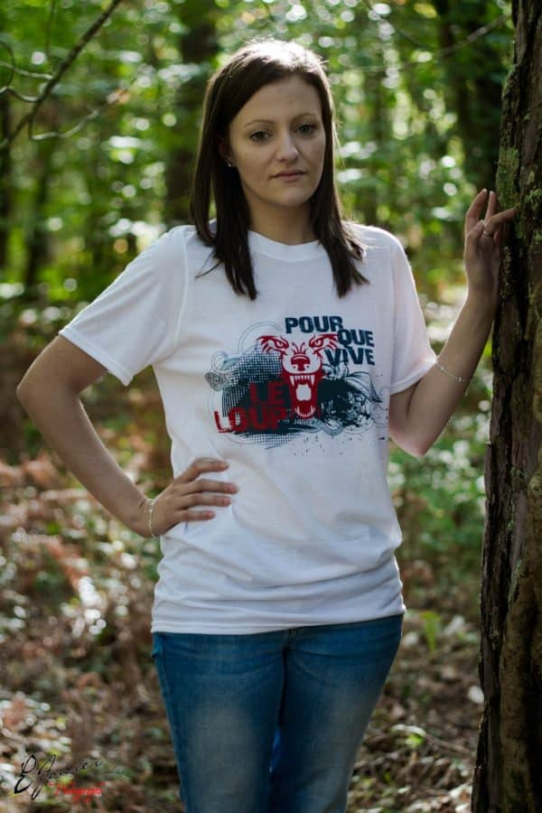 T-shirt blanc Femme Pour que vive le loup