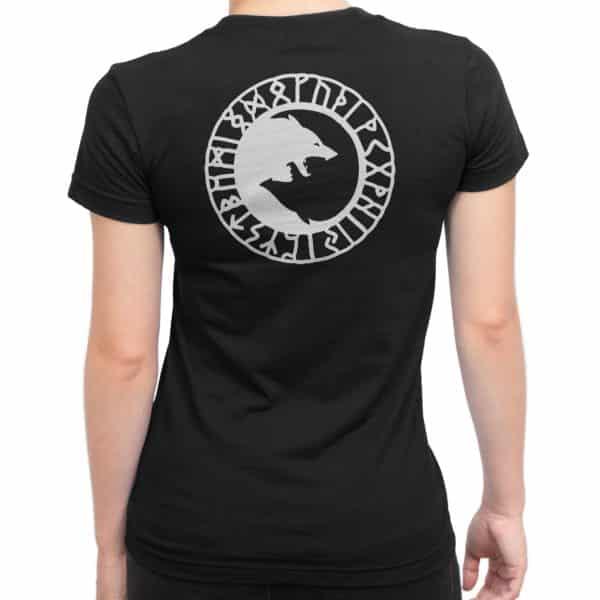 T-shirt noir Femme louves et runes