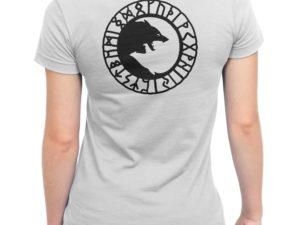 T-shirt blanc Femme louves et runes