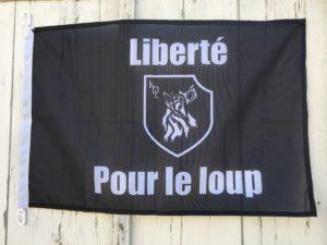 Drapeau noir Liberté Pour le loup !